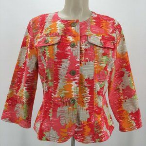 Hearts of Palm Button Up Blazer Jacket Womens 10 Pink Long Sleeve Round Neck